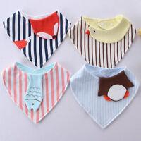 Baby Cartoon Animal Feeding Triangular Scarf Cute Kids Cotton Saliva Towel Bibs