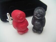 HANDMADE NOVELTY RED & BLACK JELLY BABY BABIES SWEETS SILVER CUFFLINKS QUIRK