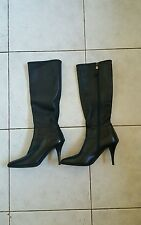 Authentic Prada knee high black leather boots size 35 plus know your sizing