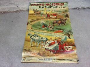 exceptionnelle affiche ancienne publicitaire: MAC CORMICK,agricole,tracteur.
