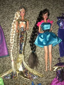vintage jewel hair mermaid barbie and teresa 1995 with extra outfits