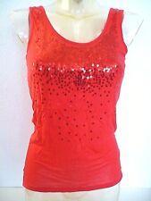 haut ♥ LA REDOUTE ♥ Taille M 38 40  top débardeur rouge sequins  Femme