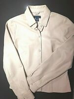 Women's Ann Taylor Leather jacket size 4  Cream  Button up
