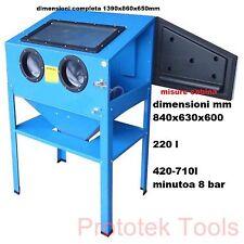 sabbiatrice a cabina con ugelli da 4,5,6,7 mm da 220 LITRI pressione eserc 8 Bar