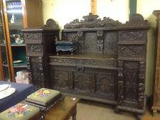 Very fine 17th century flemish carved solid oak gothic sideboard dresser cabinet