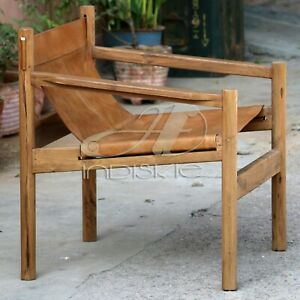 Wanderloot Genoa Solid Teak and Tan Leather Sling Chair Arm Chair