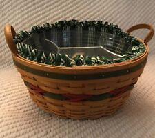 Longaberger 1999 Holiday Hostess Pinecone Basket Combo - Hunter Green Stripe
