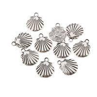 shell Tibetan Silver Bead charms Pendants fit bracelet 10pcs 18x14mm free ship