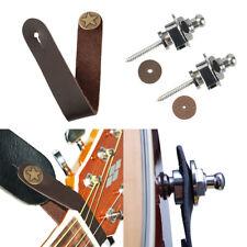 Silver Guitar Strap Lock Straplock Hook + Leather Guitar Strap Button Brown