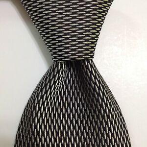 HUGO BOSS Mens 100% Silk Necktie ITALY Designer Geometric Black/Gray Classic GUC
