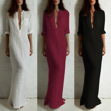 Women Retro Ethnic Boho Cotton Long Sleeve Maxi Dress Blouse Shirt S-5XL M0L5
