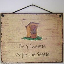 Bathroom Sign Vintage Be a Sweetie and Wipe The Seat Decor Wall Toilet Clean USA