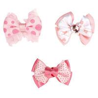 MOLLY BOWS  Lots 1/3/12 Ribbon Rubber Band Bow Gemstone Polka Dots Pink Dog Hair