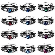 Unisex Men's 12 Constellations Bracelet Star Sign Zodiac Braided Leather Bangle