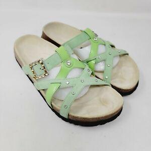 Betula Birkenstock Womens Green Leather Strappy Sandals Rhinestones Size 7 EU 38