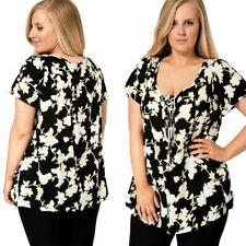 Ladies Plus Size Black White Floral Blouse Pretty Vine Pattern Tunic Xmas Party