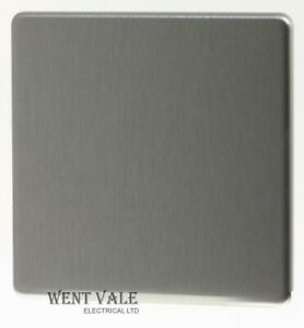 BG Decorative Screwless Flat Plate - FBS94 - 1 Gang Blank Plate in Brushed Steel