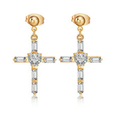 Vintage Cross white crystal gold filled womens dangle stud earrings jewellry