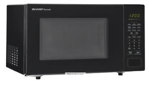 Sharp - Carousel 1.1 Cu. Ft. Mid-Size Microwave Oven Black SMC1131CB Modern