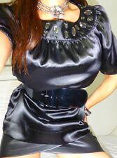 Jet black satin ultra femme blouse top size 12