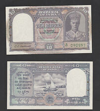 India 10 Rupees (1943) P24 King George Vi - Unc Tone with Usual Staple hole