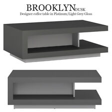 Brooklyn crépuscule café table en platine / gris clair Gloss moderne luxe