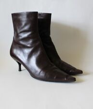 Chanel Brown Leather Pointed Cap Toe Ankle Boots Sz 40 Orig $695