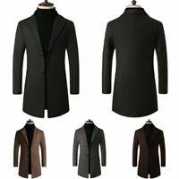 UK Mens Gent Winter Trench Coat Single Breasted Warm Outwear Wool Outwear Jacket