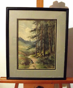 19th Century  Watercolor Wooded Landscape Woman on a Path