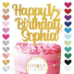 Happy 1/2 Birthday Cake Topper Glitter Daughter 6 months half birthday six month