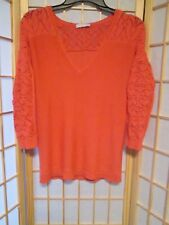 New York and Company Womens Pullover Sweater 3/4 Crochet Sleeves Sz S