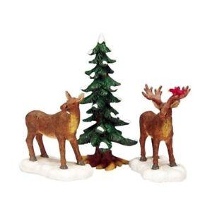 Lemax Decoration 'Mr & Mrs Moose', Christmas Cake Decorating, Set of 3 Figures