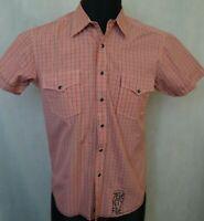 Men's JACK JONES West Shirt Casual Short Sleeve Check Cotton Shirt Size M Medium