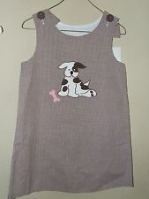 Kelly's Kids 5 6 Puppy Dog A Line Dress Brown Gingham Jumper Pink Boutique Anima