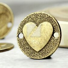 25pcs Antitue Brass Metal Links Connector Jewelry Findings Heart 23x23x2mm