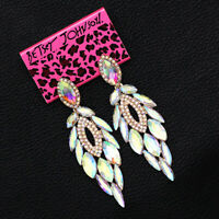 Betsey Johnson Colorful AB Crystal Feather Dangle Earbob Women's Earrings Gift