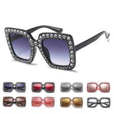 New Women Rhinestone Glass Oversized Square Frame Sunglasses Shades Eyewear AY
