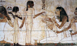 30 x 18 Tumbled Marble Mural Backsplash Egyptian Art Tile #93