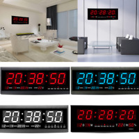 LED Large Digital Wall Jumbo Clock W. Calendar Thermometer Humidity Home Office