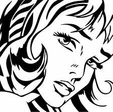 Pop art Comics Woman Portait Decal Sticker Wall, Car, Home