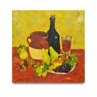 NY Art - Modern Fruit & Wine Still Life 24x24 Original Oil Painting on Canvas