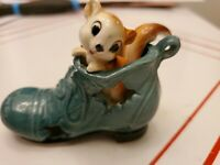 Vintage turquoise Shoe Boot squirrel Small Figurine Collectible Japan /lego.LBL.
