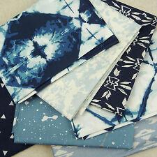 Galleria D'ARTE ~ OSSERVATORE tessuto Pack/Quilting Blu Shibori tribale astratto ORO