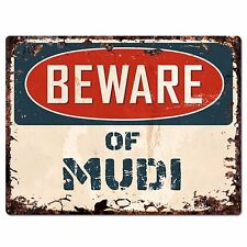 Ppdg0022 Beware of Mudi Plate Rustic Chic Sign Decor Gift
