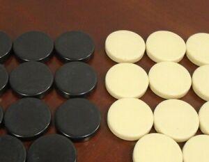 """Vtg Backgammon Replacement Checkers 1 1/4"""" Black & White/Cream Pieces - U Pick"""