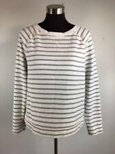 Boden Womens Sweater 10 M White Gray Stripe Long Sleeve Crew Neck Cotton