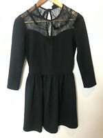 Top Shop Black Long Sleeve Short Dress Fit & Flare Lace Size 12 High Neck