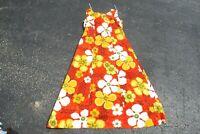 Vintage 70s Sears Hawaiian Fashions Bark Cloth Maxi Dress Bright Orange Floral