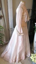 Genteel Antique Edwardian c1903 Iced Pink Silk 2 pc Reception Demi Trained Gown