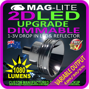 MAGLITE UPGRADE LED CONVERSION 2D BULB GLOBE TORCH FLASHLIGHT 1080LM DIMMABLE
